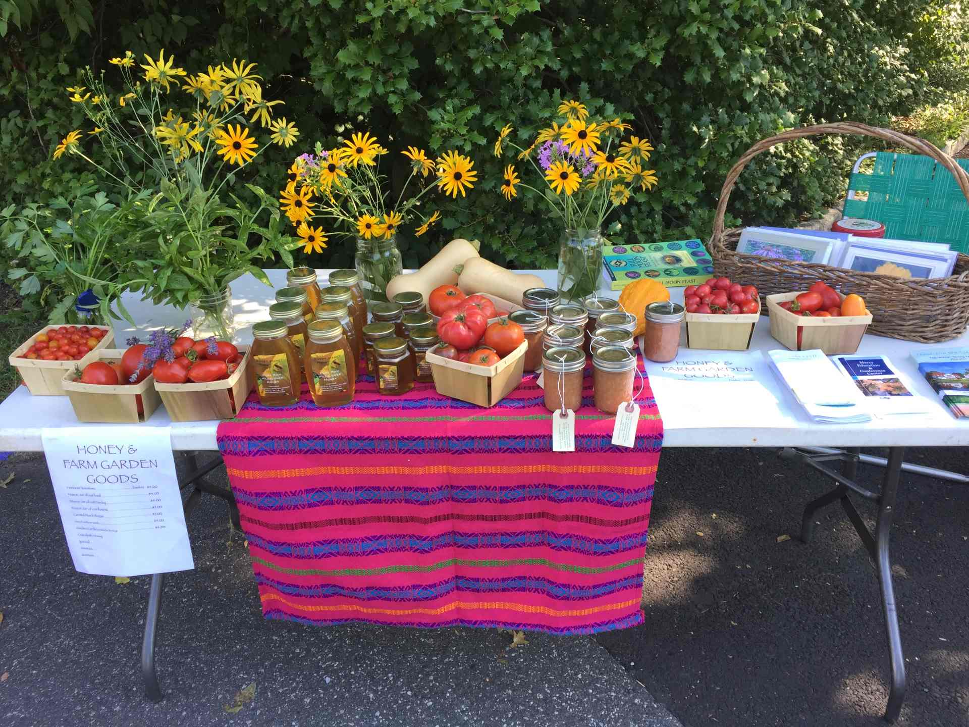 Table of food and products at Cranaleith Spiritual Center