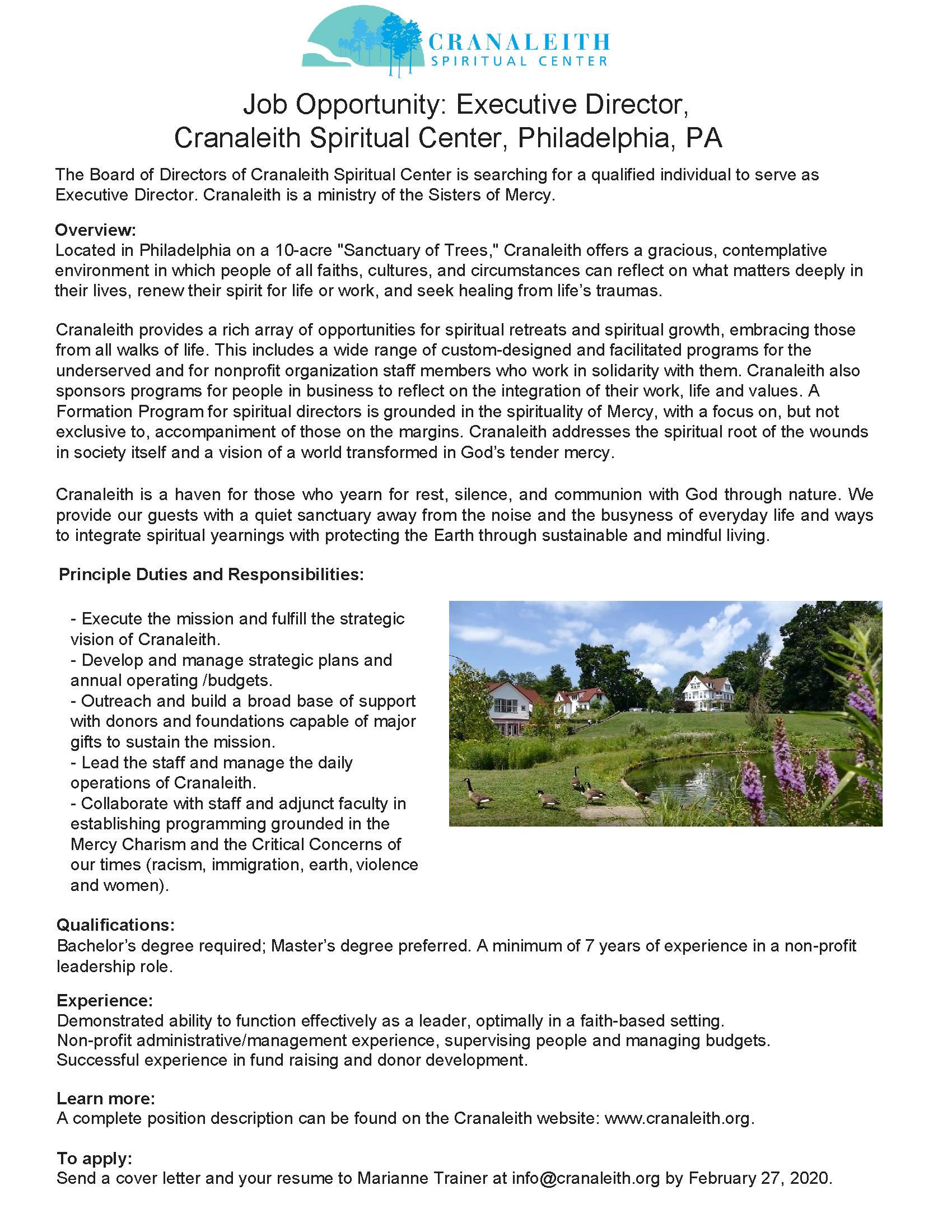 Cranaleith Executive Director - Position Flyer